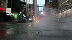 Stock Video Footage of Steaming Manhole in Times Square Manhattan New York City NYC USA