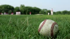 Baseball Scene Pitcher Throwing Green Grass Slow Motion Game Team Stock Footage
