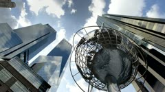 Globe Sculpture in Columbus Circle in Midtown Manhattan, NYC Day to Night Stock Footage