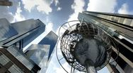 Stock Video Footage of Globe Sculpture in Columbus Circle in Midtown Manhattan, NYC Day to Night