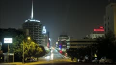 Stock Video Footage of Capitol Records hollywood street Time lapse