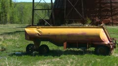 Old water trailer, abandoned and forgotten Stock Footage