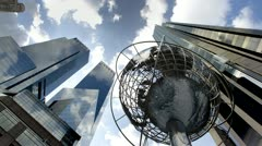Timelapse of Globe Statue Columbus Circle Manhattan, NYC, USA Day to Night in 4K Stock Footage