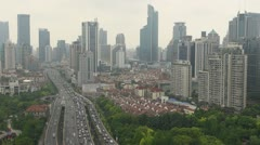 Traffic car timelapse fast motion freeway day Shanghai business district China - stock footage