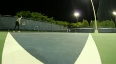Jm1216-Night Tennis Court Fisheye3 Stock Footage