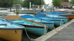 Rowing Boats Moored at Henley on Thames Stock Footage