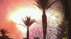 Fireworks and palms Stock Footage