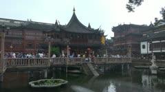 People visiting Yuyuan Garden,Yu Yuan Park, Shanghai, China Stock Footage