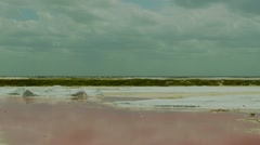 Pink sea salt flat Stock Footage