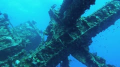 old sunken ship in red sea, masts and devices - stock footage