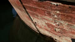 Decrepit Wooden Hull Old Ship Bow Reflections - stock footage