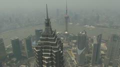 Aerial view Shanghai Bund China foggy day fog timelapse river skyline skyscraper Stock Footage