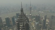 Stock Video Footage of Aerial view Shanghai Bund China foggy day fog timelapse river skyline skyscraper