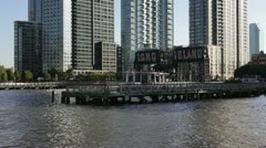 Long Island, City Piers, East River, New York - stock footage