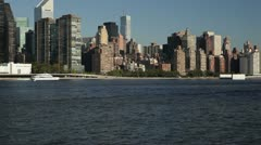 Manhattan From the East River, New York Stock Footage