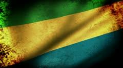 Gabon Flag Waving, grunge look Stock Footage