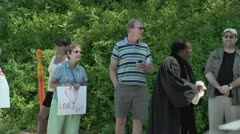 Gay protestors and black minister 5 27 12 - stock footage