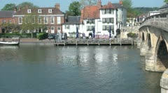 Henley on Thames River and Bridge Stock Footage