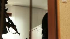 Terrorists taking hostages in Office - variation door shot - stock footage