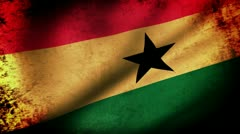 Ghana Flag Waving, grunge look Stock Footage