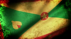 Grenada Flag Waving, grunge look Stock Footage