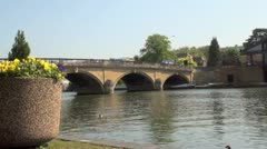 Arched Stone Road Bridge at Henley on Thames Stock Footage