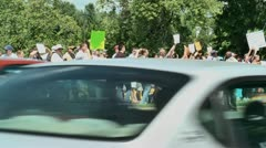Gay protestors with state trooper 5 27 12 Stock Footage