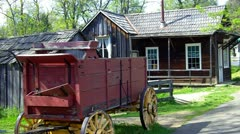 Old West Wagon & House- Columbia State Historical Park Stock Footage