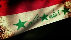 Irak Flag Waving, grunge look Stock Footage