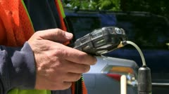 Natural gas leak repair crew Stock Footage
