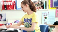 Female students studying child care at college Stock Footage