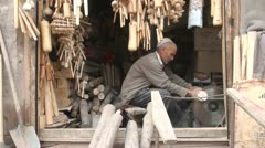 China craftsman workshop wood senior man industry small scale Kashgar Stock Footage