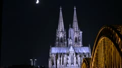 Cologne Cathedral at night - stock footage