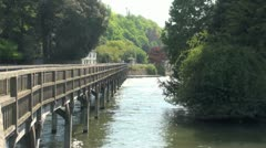 Wooden Footpath Bridge Henley on Thames Stock Footage