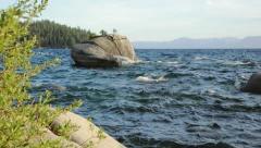 Bonsai Rock, east shore of Lake Tahoe (pedestal shot) Stock Footage