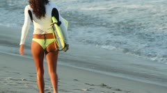 Surfers surf sexy girl mexico Stock Footage
