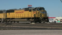 Train Engines at Crossing - stock footage