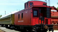 Old Train Cabose, Passenger Car and Depot Stock Footage