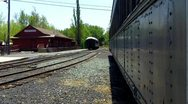 Old West Train Cars and Train Depot Stock Footage