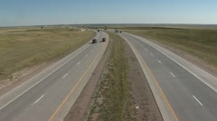 Busy Wyoming Interstate Highway Stock Footage