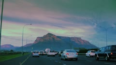 Table Mountain seen from highway at dusk. Stock Footage