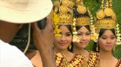 Siem reap cambodia dancers in native traditional gold ancient dance costumes  Stock Footage