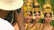 Stock Video Footage of siem reap cambodia dancers in native traditional gold ancient dance costumes