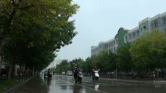 Chinese street during downpour and rain, Kashgar city Stock Footage