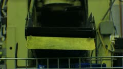 Metal Brackets on Conveyor Belt via point of view - stock footage