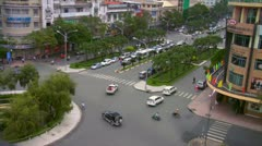 Saigon vietnam viet nam busy traffic from the famous rex hotel roof Stock Footage