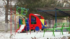 Childrens playground in the winter Stock Footage
