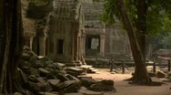 Siem reap cambodia woman tourist taking photo at temple ta prohm near angkor  Stock Footage