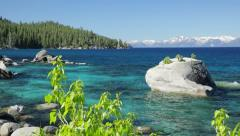 Bonsai Rock, Lake Tahoe, east shore (pan & pedestal) Stock Footage