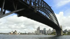 Sydney Australia close up of famous Harbour Bridge and Sydney Opera House with Stock Footage